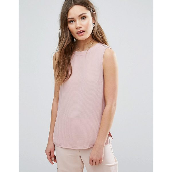 NEW LOOK D Ring Tank - Top by New Look, Textured crepe front, Round neck,...