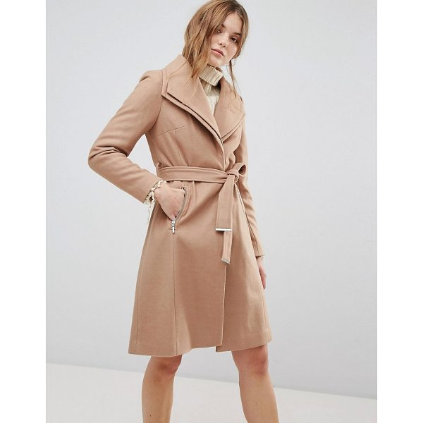 NEW LOOK Double Waterfall Belted Coat - Coat by New Look, Oversized double-layer lapel, Press-stud...