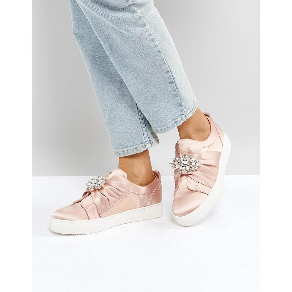 """NEW LOOK Embellished Brooch Satin Sneaker - """"""""Sneakers by New Look, Textile upper, Satin finish,..."""