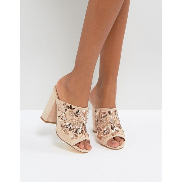 "NEW LOOK Embellished Heeled Mule Sandals - """"Mules by New Look, Faux-suede upper, Slip-on style, Peep..."