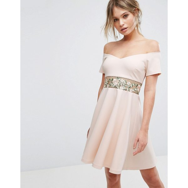 """NEW LOOK Embroidered Bardot Mini Dress - """"""""Dress by New Look, Smooth stretch fabric, Bardot neck,..."""