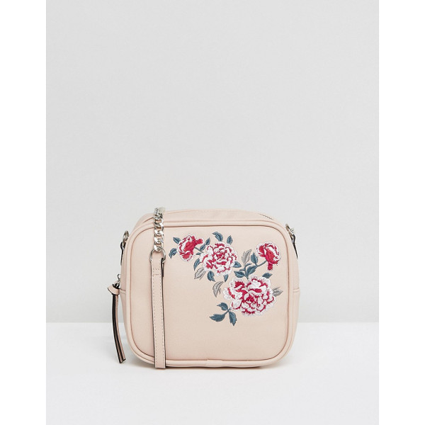 NEW LOOK Embroidered Camera Bag - Cart by New Look, Faux leather outer, Embroidered floral...