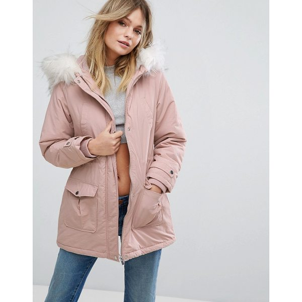 """NEW LOOK Faux Fur Hood Parka Coat - """"""""Parka by New Look, Smooth woven fabric, Padded lining for..."""