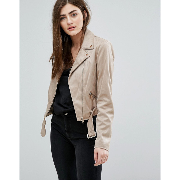NEW LOOK Faux Suede Biker Jacket - Biker jacket by New Look, Faux suede, Studded lapels,...