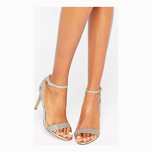 NEW LOOK Gold Barely There Heel - Sandals by New Look, Textured upper, Ankle-strap fastening,...