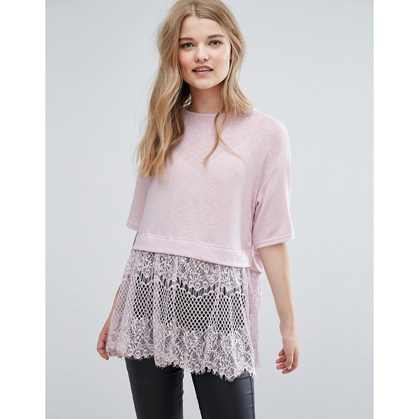 NEW LOOK Lace Hem T-Shirt - Top by New Look, Soft-touch jersey, Crew neck, Eyelash lace...