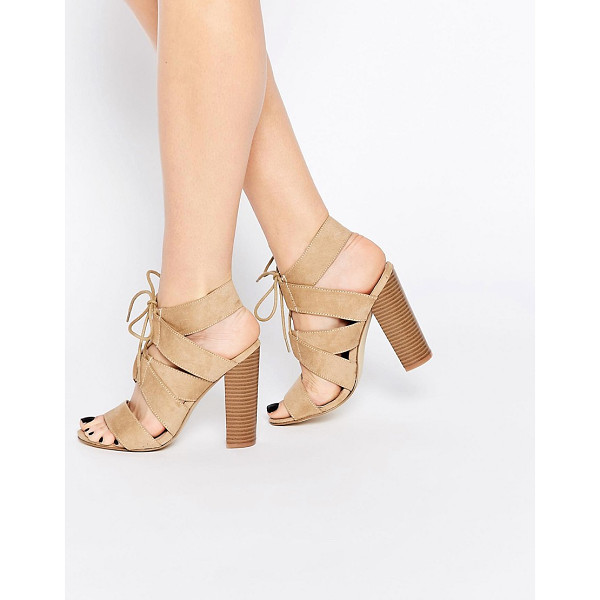 NEW LOOK Lace Up Block Heeled Sandals - Sandals by New Look, Faux suede, Lace front, Block heel, Do...
