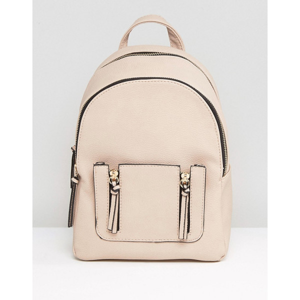 NEW LOOK Mini Zip Pocket Backpack - Backpack by New Look, Smooth outer, Adjustable straps,...