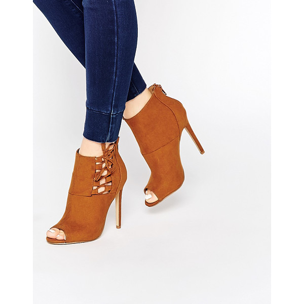 NEW LOOK Open toe lace up boots - Boots by New Look, Suede-look upper, Lace-up detail to...