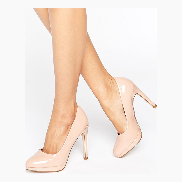 NEW LOOK Patent Round Toe Court Shoe - Heels by New Look, Patent faux-leather upper, Slip-on