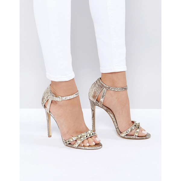 NEW LOOK Studded Metallic Heeled Sandal - Heels by New Look, Metallic upper, Ankle-strap fastening,