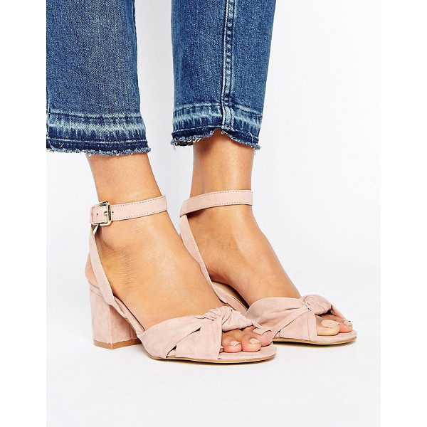 """NEW LOOK Suedette Knot Front Block Heel - """"""""Shoes by New Look, Faux-leather upper, Ankle-strap..."""