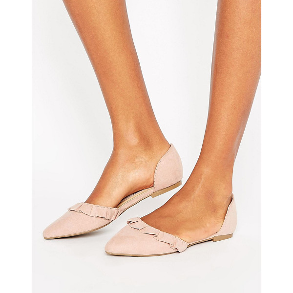 NEW LOOK Suedette Ruffle Back Flat Shoe - Shoes by New Look, Textile upper, Slip-on design, Ruffle...