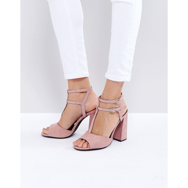 "NEW LOOK Suedette T Bar Block Heeled Sandal - """"Heels by New Look, Faux-suede upper, Double ankle-strap..."