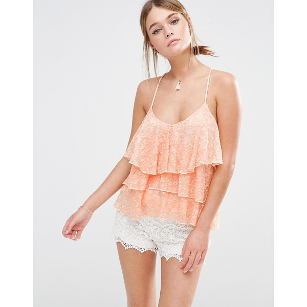 NEW LOOK Tiered Lace Cami - Tank by New Look, Lined embroidered mesh, Scoop neckline,...