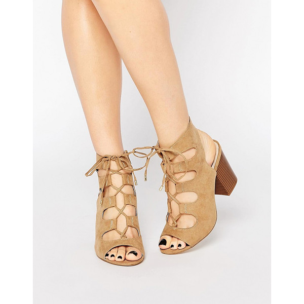 NEW LOOK WIDE FIT Lace Up Block Heeled Sandal - Heels by New Look, Faux suede upper, Tie-up fastening,...