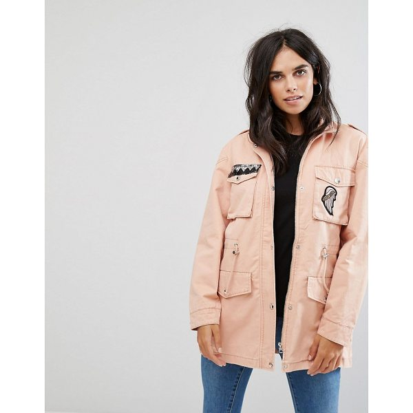 "NOISY MAY Lex Cargo Jacket with Patches - """"Jacket by Noisy May, Smooth woven fabric, Shoulder..."
