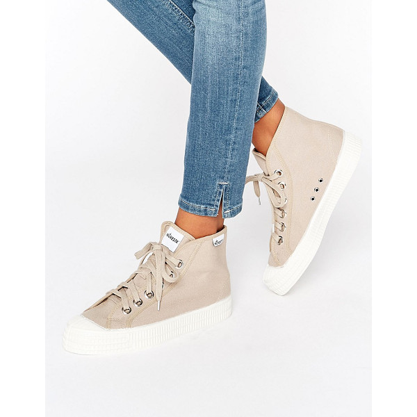 NOVESTA Star Dribble Classic Hightop Sneakers In Cream - Shoes by Novesta, Textile upper, Branded design, Lace-up...