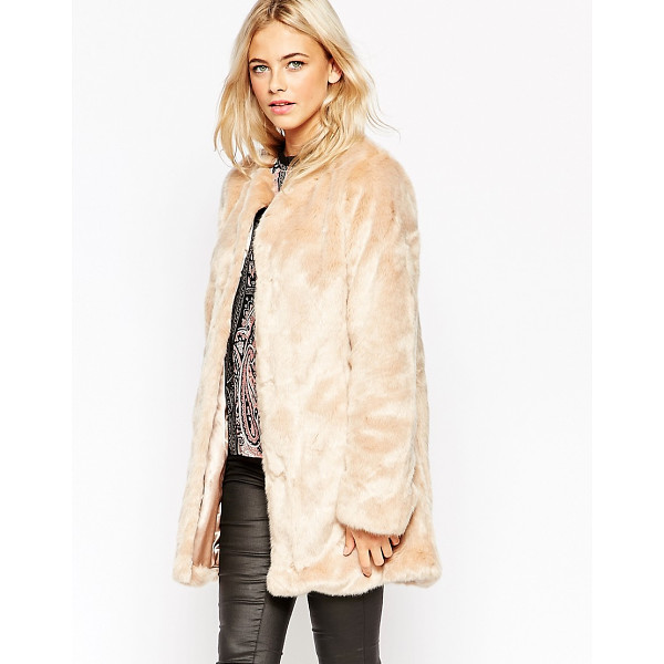 OASIS Collarless Faux Fur Jacket - Jacket by Oasis, Fluffy faux-fur, Silky-feel lining, Round...