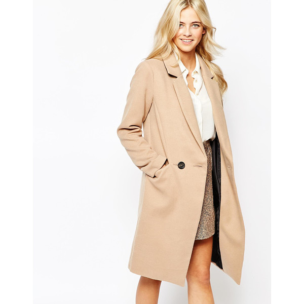 OASIS Double Breasted Car Coat - Coat by Oasis, Woven fabric, V-neckline, Notch lapel...