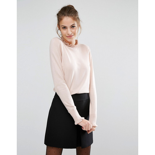 OASIS Frill Neck Sweater - Sweater by Oasis, Lightweight knit, Soft-touch finish, High...