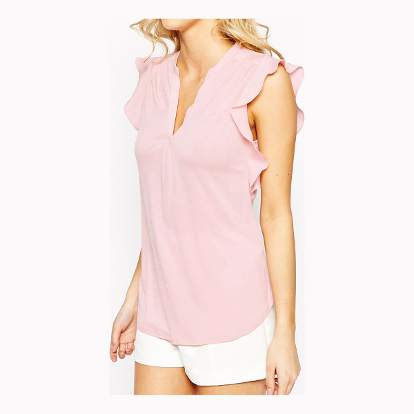 OASIS Frill sleeve blouse - Blouse by Oasis Semi sheer, soft-touch jersey V-neckline...
