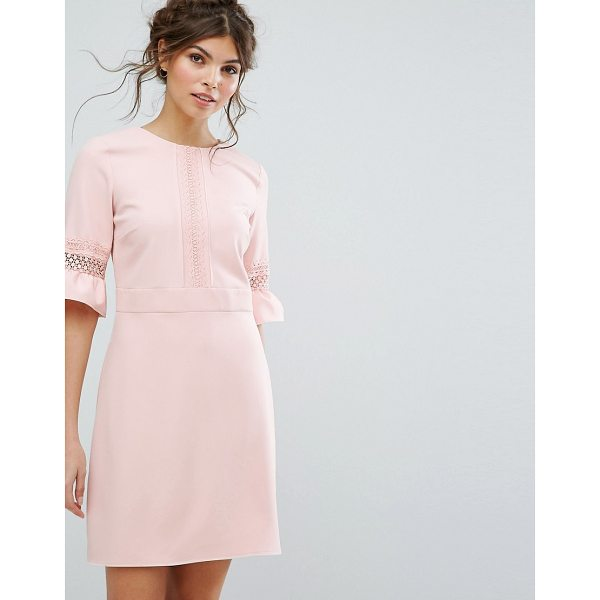 "OASIS Lace Fluted Sleeve Shift Dress - """"Dress by Oasis, Stretch woven fabric, Round neck,..."