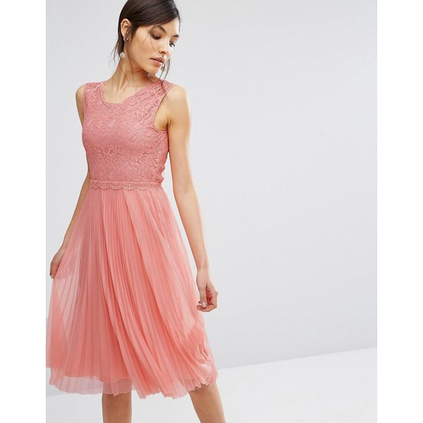 "OASIS Lace Pleated Midi Dress - """"Midi dress by Oasis, Lined lace bodice, V-neck, Lined..."
