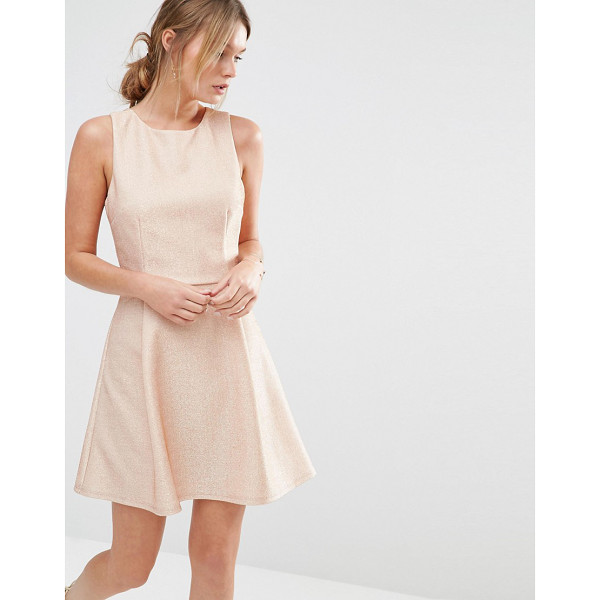 OASIS Metallic Skater Dress - Skater dress by Oasis, Metallic thread knit, Round...