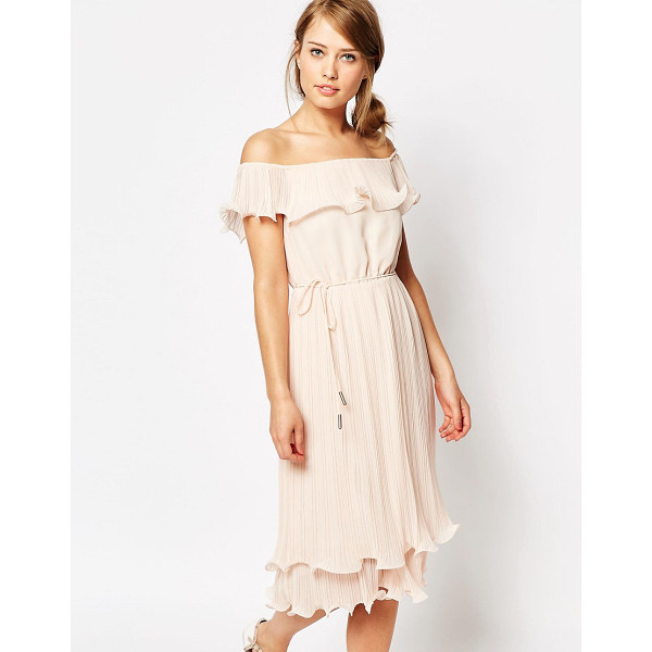 "OASIS Pleated Ruffle Bardot Midi Dress - """"Midi dress by Oasis, Lined woven fabric, Bardot neckline,..."