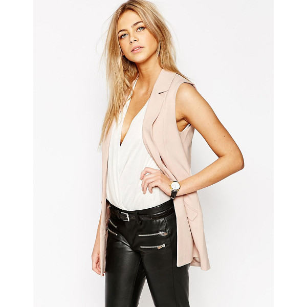 OASIS Sleeveless Jacket - Jacket by Oasis, Lined woven fabric, Notch lapels, Open...