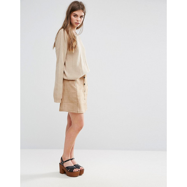 "OEUVRE Oeurve Faux Suede Mini Skirt - """"Mini skirt by Oeurve, Faux-suede, High-rise waist, Button..."