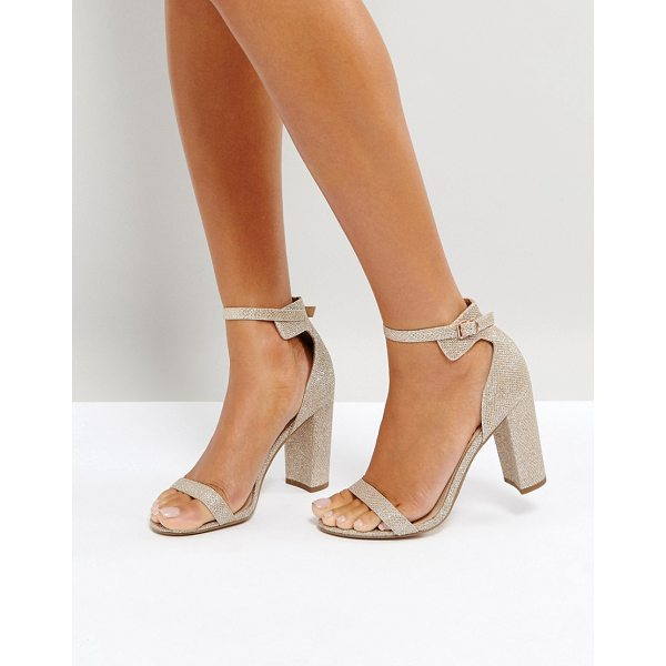 OFFICE Hip Heeled Sandals - Heels by Office, Textured glitter upper, Rose-gold-tone...