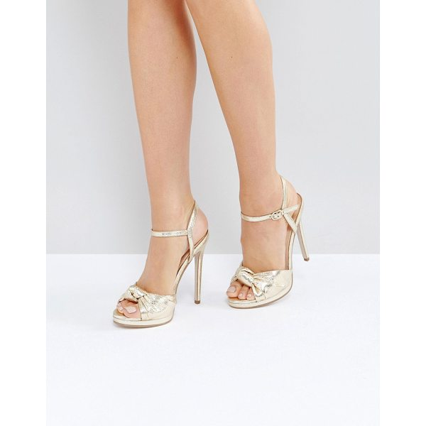 "OFFICE Hold Tight Gold Platform Sandals - """"Heels by Office, Metallic upper, Ankle-strap fastening,..."