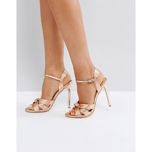"""OFFICE Hollie Rose Gold Heeled Sandals - """"""""Sandals by Office, Metallic faux-leather upper,..."""