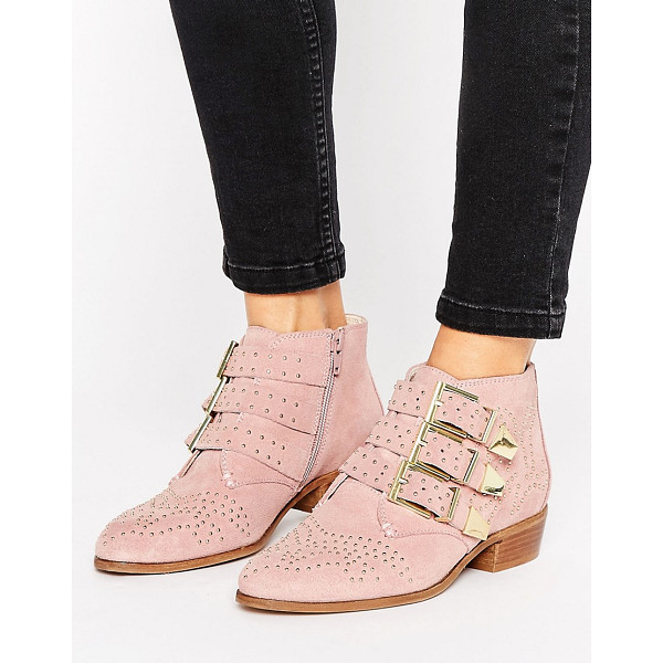 OFFICE Stud Blush Suede Ankle Boots - Boots by Office, Suede upper, Zip-side fastening,...