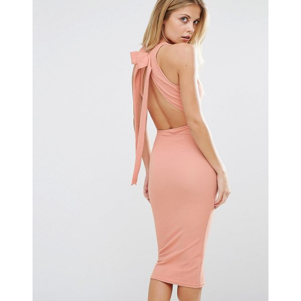 """OH MY LOVE Bow Back Midi Dress - """"""""Dress by Oh My Love, Smooth stretch jersey, Plunge..."""