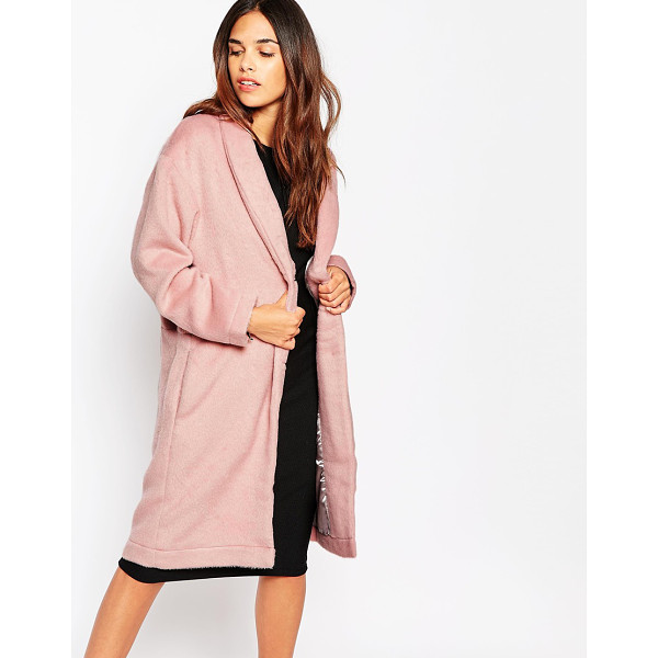OH MY LOVE Brushed duster coat - Coat by Oh My Love Brushed woven fabric Fluffy texture...