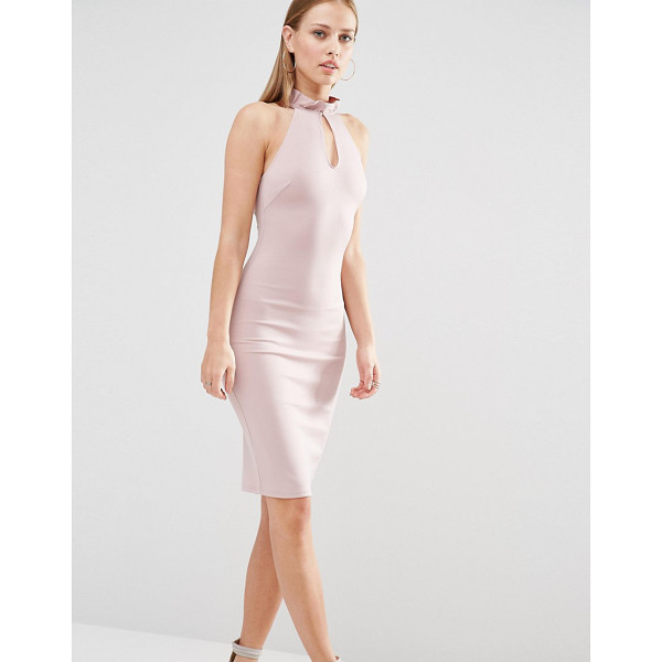 """OH MY LOVE Frill Neck Racer Midi Dress With Keyhole - """"""""Midi dress by Oh My Love, Smooth woven fabric, Frilled..."""