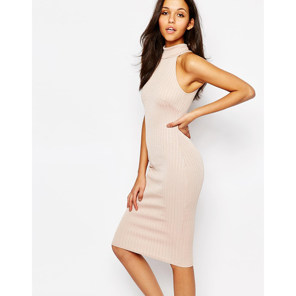 OH MY LOVE High Neck Midi Pencil Dress - Evening dress by Oh My Love, Ribbed knit, Turtle neckline,