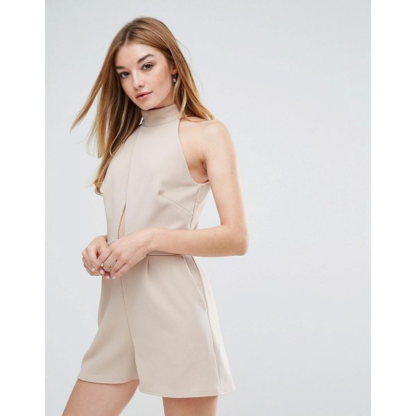 "OH MY LOVE High Neck Wrap Cut Out Romper - """"P laysuit by Oh My Love, Stretch ribbed fabric, High..."