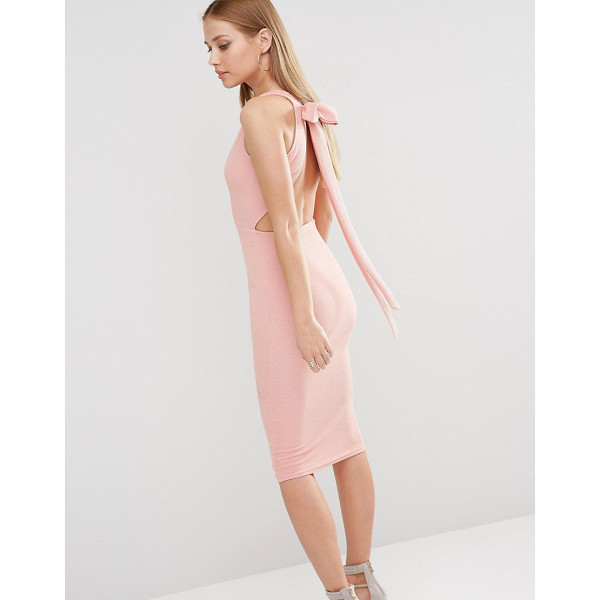 OH MY LOVE Plunge Bow Back Midi Dress - Midi dress by Oh My Love, Woven fabric, Plunge v-neckline,...