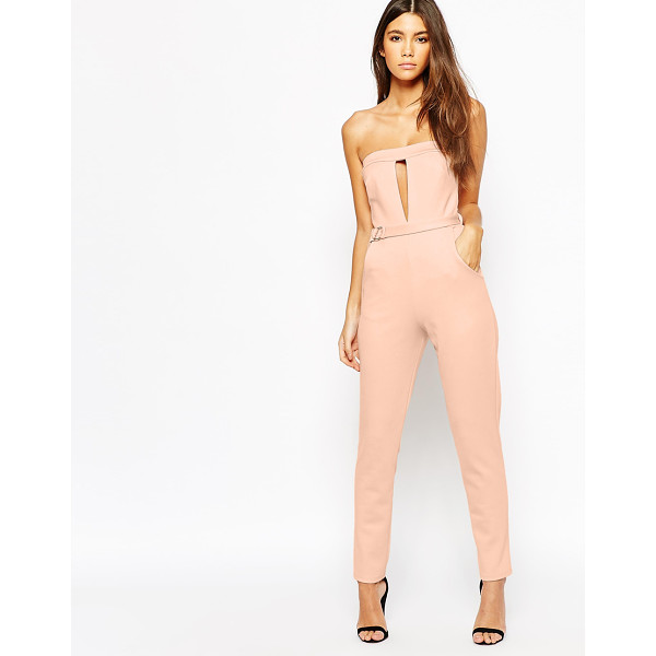 OH MY LOVE Plunge Catsuit With Metal Bar Detail - Jump suit by Oh My Love, Stretch knit fabric, Bandeau...
