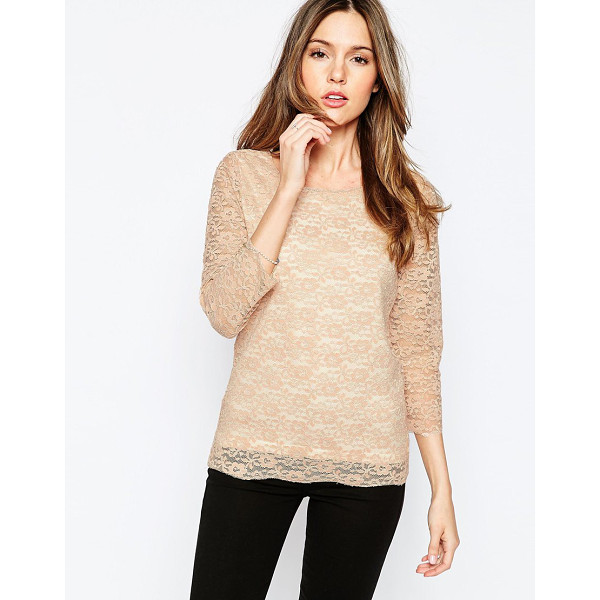 ONLY Long sleeve lace top - Top by Only Sheer lace overlay Wide scoop neckline Sheer...