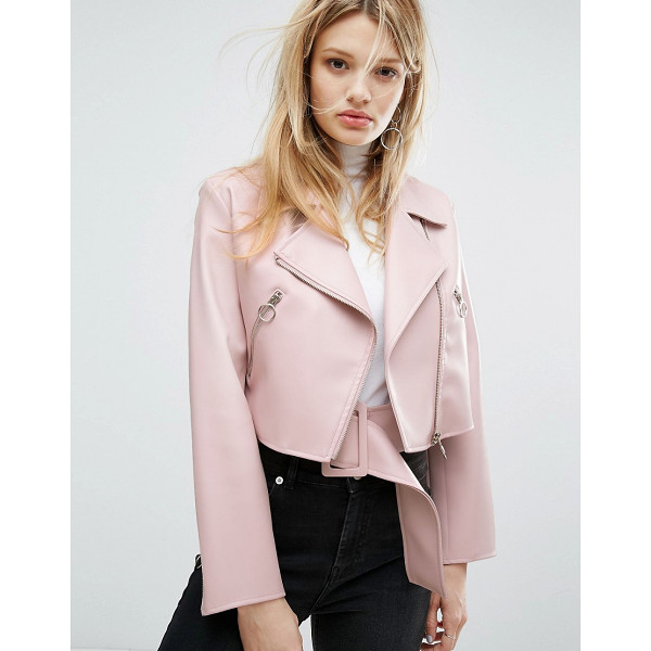 OUTSTANDING ORDINARY Faux Leather Jacket With Belt Detail - Leather jacket by Outstanding Ordinary, Faux-leather, Point...