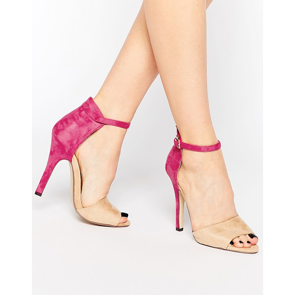 PAPER DOLLS Ankle Strap Heeled Sandals - Shoes by Paper Dolls, Leather-look upper, Barely-there,...