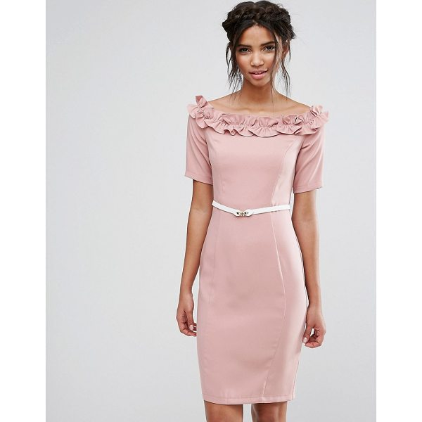 PAPER DOLLS Bardot Midi Dress with Belt and Ruffle Detail - Midi dress by Paper Dolls, Smooth stretch fabric, Lined...