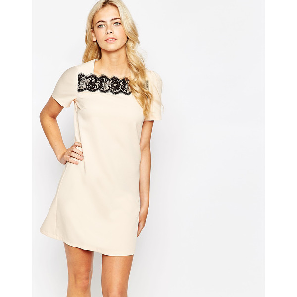 PAPER DOLLS Shift dress with lace stripe - Dress by Paper Dolls, Stretch woven fabric, Square...