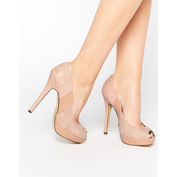 PAPER DOLLS Peep toe platform heeled shoes - Shoes by Paper Dolls Leather-look upper Muted color block...