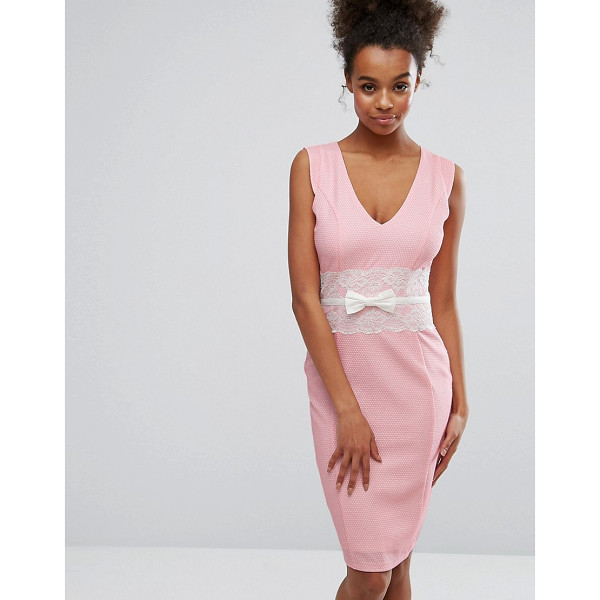 "PAPER DOLLS Pink Bodycon Dress With Lace Middle - """"Dress by Paper Dolls, Textured woven fabric, Plunge neck,..."